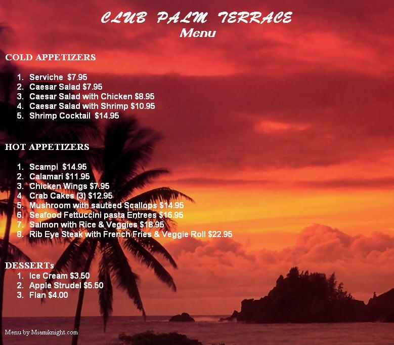 Palm Terrace Menu